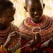 Samburu women making jewellery, Kenya